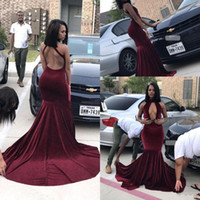Wholesale velvet blue girl dresses - Burgundy Velvet Prom Dresses 2018 High Neck Backless Mermaid Long Plus Size Evening Gowns Black Girls Occasion Party Dresses