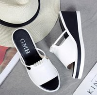 Wholesale free slope - The new hot slope female slippers summer Korean loose fashion casual wild thick sandals high quality free shipping