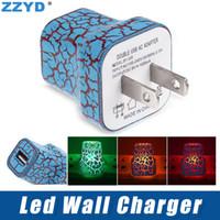 iphone iluminando el cargador al por mayor-ZZYD LED Cargador de Pared Portátil Color de Luz Brillante UP 5V 1A AC Viaje Adaptador de Alimentación de Carga para el Hogar para Iphone Xs Max Samsung S8
