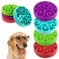 ingrosso piatti di cibo per animali da compagnia-7 colori Pet Dog Puppy Slow Food Bowl Anti soffocamento Food Water Dish Slow Feeding Feeder Bowl AAA382