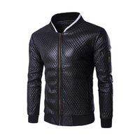 Wholesale Padded Leather Neck Collar - Mens Jackets Coat Faux Leather Stand Collar Stylish Jacket Cotton-Padded Autumn 2017 Fashion Coat Tops 0986