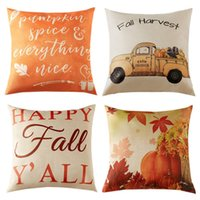 Wholesale cotton decorative pillow covers resale online - Breathable Fall Pillow case cushion Covers Autumn Theme Farmhouse Decorative Throw Pillows case cm cm for Thanksgiving Home Decoration