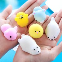 Wholesale Cellphone Hand - 10pcs Mini Squeeze Toy Squishy cat Cute Kawaii doll Squeeze Stretchy Animal Healing Stress Hand Fidget vent Toys Paste on for cellphone Cas