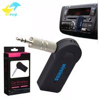 caixas receptoras venda por atacado-Universal 3.5mm Bluetooth Car Kit A2DP Sem Fio Transmissor FM AUX Receptor de Música de Áudio Adaptador Handsfree com Microfone Para O Telefone MP3 Caixa de Varejo