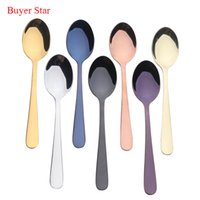 Wholesale gold tea spoons - 7pcs Gold Tea Spoon Good Mirror Polish 18  10 Stainless Steel Small Silver Scoop For Tea Party Mini Coffee Spoon Set Kitchen Set