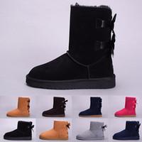 botas de invierno de cuero marrón para niñas al por mayor-UGG boots Mujeres WGG Australia Botas clásicas chica triple negro gris azul Marrón Botas de chocolate Botas de nieve Botas de invierno Zapatos de cuero al aire libre us 5-10