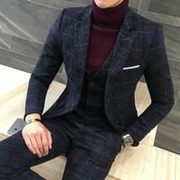 erkekler için kalın kış kıyafetleri toptan satış-3 Parça Suits Erkekler Son Pantolon Ceket Tasarımları Kraliyet siyah Erkek Suit Sonbahar Kış Kalın Slim Fit Ekose Gelinlik Smokin