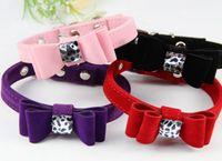 Wholesale collars cats resale online - Simple pets collar dog cat bowknot collar adjustable DIY flat belt pet necklace pets supplies free ship