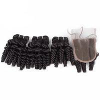 cheveux brésiliens armure spirale curl achat en gros de-Cheveux Funmi brésiliens à armure frisée 3 faisceaux avec fermeture à lacet Paquets de cheveux en spirale à boucle avec fermeture à 4x4 100% extensions de cheveux humains
