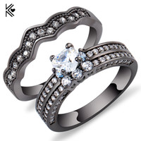 Discount pcs men ring gold - 2 Pcs Ring Set Heart Style White Zircon Stone Rings For Women Men Black Gold Filled Jewelry Wedding Party Promise Ring Trinkets