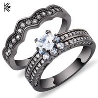 ingrosso le pietre nere squillano le donne-2 pezzi anello set cuore stile bianco zircone pietra anelli per le donne uomini oro nero riempito gioielli festa di nozze anello promessa bigiotteria