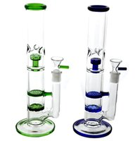Wholesale honey comb oil filter resale online - Heady Tube Glass hookah Bong layer Honeycomb Filter Water Pipe Ashcatcher Effect Glass Bong Honey Comb Perc Colorful Dab Rig Oil Rigs