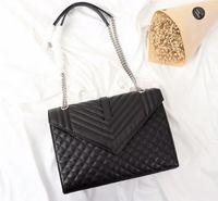 Wholesale lady d handbag - Fashion Luxury Silver Chain Shoulder Bag 30CM Genuine Caviar Leather Women's Bags 26808 Lady Handbags Have dust bags Wallets Y21