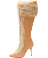 новые длинные туфли оптовых-Winter New Brand Women Beige Brown Rabbit Fur Pointed Toe Stiletto Heel Knee High Long Slim Zip Boots Plus Size Lady Boots Shoes