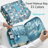 kozmetik valizler toptan satış-Moda Su Geçirmez Oxford Bez Seyahat Çantası Bavul Çift Güverte Lady Makyaj Çantası Banyo Kozmetik Çantası