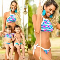 Wholesale mother son sets - Family Beach Bikini Sets Holiday Swimsuits Mother Daughter Son Family Matching Floral Watermelon Print Bikinis sets Free Ship
