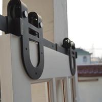 ingrosso hardware pesante porta fienile-13FT Ferro di cavallo antico in legno nero doppio scorrevole porta dell'armadio Barn Heavy Duty moderno in legno Hardware Interni Set di accessori in stile americano