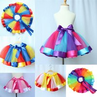 Wholesale Rainbow Ball Gowns - Children Rainbow Tutu Skirt Baby Girls Rainbow Lace Tulle Bow Princess Dresses Pettiskirt Ruffle Ballet Dancewear