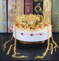 coroas redondas para noivas venda por atacado-Casamento tiara noiva chinesa retro show Wo roupas acessórios para o cabelo trajes rodada phoenix crown Xia estúdio jóias
