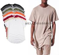 Wholesale Plain Cotton Tees Man - Plain Color Fashion Mens Slim Fit Short-sleeved Tee Male Hip Hop T-shirt High Street Designer Stars Simple Style Tops Multicolor