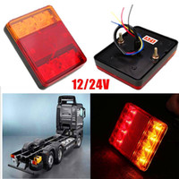 Wholesale universal truck tail lights resale online - DHL Set Waterproof LED Red Yellow Tail Warning Light V For Trailer Truck Boat Car