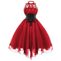 9485eb132 espartilho de proa venda por atacado-Wipalo Gothic Mulheres Vestido  Vestidos Mujer Vestido de Festa
