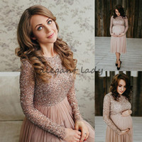 Wholesale maternity jackets for winter resale online - Empire Sequins Long Sleeve Short Prom Dress For Maternity Women Shiny Knee Length Tulle Pregnant Gowns Cheap Formal Party Evening Gown