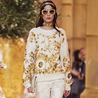 Wholesale Designer Beaded Tops - Brand Designer Luxury Embroidered Wool Sweaters 2018 Autumn Winter Runway Gold Leaf Beaded Oversized Pullovers Casual Loose Jumpers Tops