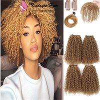 Wholesale kinky bulk hair wholesale online - Beauty Black women Hair cheap human hair feeling blended bundles short inch inch afro kinky curly extensions bulk hair wefts UK USA