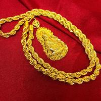 bouddha or collier hommes achat en gros de-Vintage 18k or jaune rempli de Bouddha pendentif collier chaîne tordue croyances bouddhistes collier hommes femmes style classique cadeau