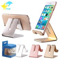 Wholesale Aluminum Tablet Pc Stand - Universal Aluminum Metal Cell Phone Stand Tablets PC Desk Stand Phone Holder Support Bracket For Iphone Ipad Samsung With Package