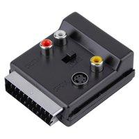 видеокабель scart оптовых-Цифровые кабели Аудио Видео кабели конвектор способен Scart мужчина к женщине S-Video 3 RCA аудио адаптер черный конвектор способен Scart мужчина к