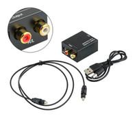 ses çevirici toslink rca toptan satış-Dijital Analog Ses Dönüştürücü Adaptör Optik Koaksiyel RCA Toslink Sinyal Analog Ses Dönüştürücü RCA ile Fible kablo perakende ambalaj
