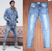 Wholesale Punk Rock Pants Zippers - Mens Jeans Fear Of God Ripped Jeans KANYE WEST Justin Bieber Famous Brand Designer Blue Rock Star Hip Hop Punk Denim Male Pants