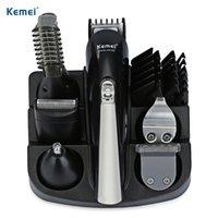 saç kesme takımları toptan satış-Orijinal Kemei Profesyonel Saç Giyotin 6 In 1 Saç Makası Tıraş Tam Set Elektrikli Tıraş Makinesi Sakal Düzeltici Kesme Makinesi