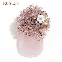 handgemachter schal rosa großhandel-Großhandel rosa Quarz Vase Pins und Broschen transparent Kristall Brosche handgemachte Bouquet Schal Kleidung Hijab Pin Broches Mujer