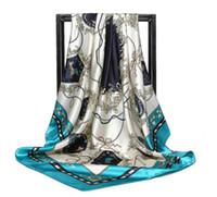 ingrosso sciarpe quadrate di seta imitazione-2018 nuove donne della molla imitazione della corda raso di seta testa quadrato hijab sciarpa stampa scialle spiaggia avvolge sciarpe 90 cm * 90 cm spedizione gratuita 138