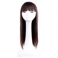 Wholesale Natural Yaki Body Wave Wig - Amir Synthetic Long Yaki Straight Wigs With Bangs For Women High Temperature Fiber Cosplay Wig Black Female Hairpiece Peruca