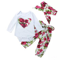 Wholesale toddlers girls clothes online - Baby Girls Flower Clothes Cotton Boutique Clothing Toddler Romper Pants Headband Red Outfits Set Floral Heart Kid Girls Suit M B11