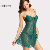 vintage dessous nachthemd großhandel-COLROVIE Green Lace Cami Nachthemd Bow Detail Vintage Nachthemd Frauen Sexy Strap Dessous 2017 New V Neck Sleeveless Nachthemd