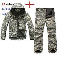 askeri yumuşak kabuk pantolon toptan satış-Taktik TAD Dişli Yumuşak Kabuk Kamuflaj Açık Ceket Set Erkekler Ordu Spor Su Geçirmez Avcılık Giyim ACU Askeri Ceket + Pantolon