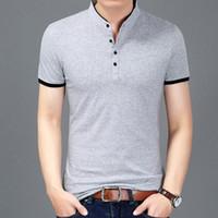 Wholesale men brand collar t shirt for sale - Group buy 2018 Summer New Fashion Brand Clothing Tshirt Men Solid Color Slim Fit Short Sleeve T Shirt Men Mandarin Collar Casual T Shirts