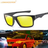 sarı gece görüş lensi toptan satış-Gece Görüş Sarı Lens Güneş Gözlüğü Sürüş Polarize Güneş Gözlüğü Gözlük Parlama Gözlük Gafas lunette de soleil homme Küçültmek