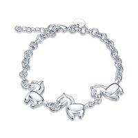 925 pferd armbänder großhandel-Bestes Geschenk! Drei Pferd Armband 925 Silber Armband JSPB519; niedrige Preis Mädchen Frauen Sterling Silber überzogene Charme Armbänder