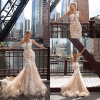 Wholesale New Design Skirt - Sexy Champagne 2018 New Design Mermaid Wedding Dresses Milla Nova Handmade Flowers Sheer Neck Illusion Back Floor Length Bridal Gowns Custom