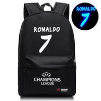 mochilas de mochila venda por atacado-Chegada Nova Cristiano Ronaldo 7 Schoolbag para adolescentes De volta à escola bookbags BackPack Noctilucous Bags luminosos H210