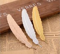 ücretsiz not etiketi toptan satış-7 Renkler Metal Tüy Imi Belge Kitap Işareti Etiketi Altın Gümüş Gül Altın Imi Ofis Okul Malzemeleri