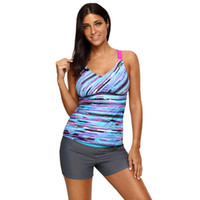 Wholesale plus size strappy swimwear online - Fuzzy Stripes Strappy Back Tankini Top Beach Swimwear Plus Size