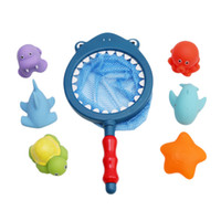 Wholesale fish bath toys resale online - New Fashion Fishing Toys Sets Network Bag Pick up Duck Fish Kids Toy Swimming Classes Play Bath Doll Water Spray Bath Toys