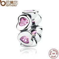 Wholesale REAL Sterling Silver FANCY PINK SPARKLING HEARTS SPACER CHARM Fit Charms Bracelet DIY Women Fine Jewelry